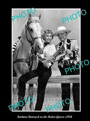 OLD LARGE HISTORIC PHOTO OF MOVIE STAR BARBARA STANWYCK AS THE RODEO QUEEN c1958