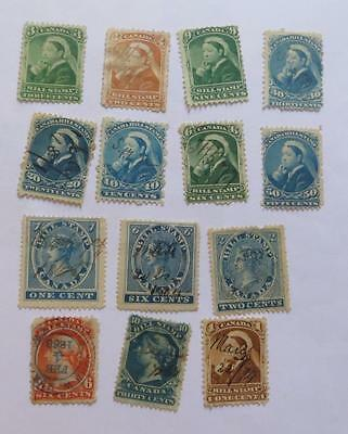 Canada 1864 - 68 QV small collection Bill stamps most used