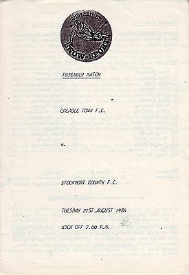 Cheadle Town V Stockport County Friendly 21 August 1984  Vgc