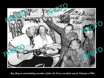 OLD LARGE HISTORIC PHOTO OF ROY ROGERS SINGING TO VIETNAM AIR FORCE TROOPS c1966