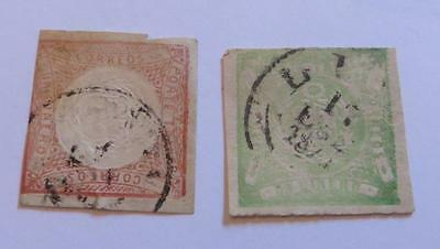 Peru 1862 red 1d and green 1d used