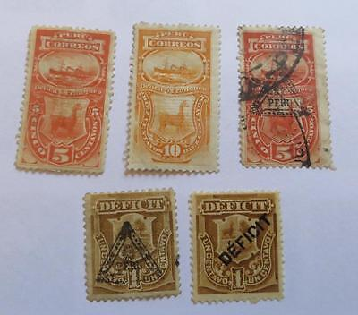 Peru 1874 - 1902 small collection Postage Due