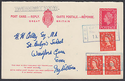 1964 GB Used Abroad in Riga, Latvia, uprated 2 1/2d Stationery Postcard: England
