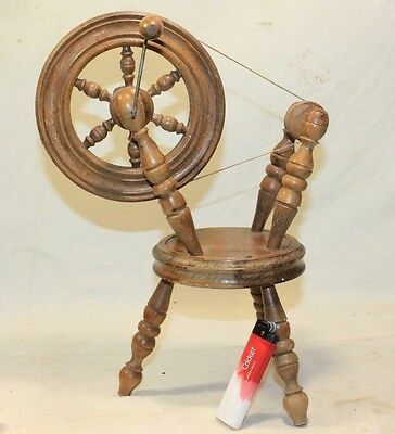 Vtg Miniature Wooden Spinning Wheel Decoration Doll House