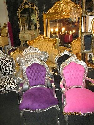 Purple And Silver French High Back Carved Arm Chair Magnificent And New