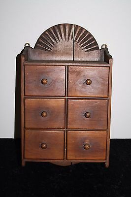 Vintage Primitive Hanging Wood Spice Cabinet Rack Apothecary 6 Drawer Rustic