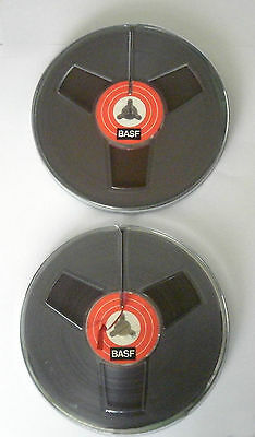 Vintage BASF open reel audio tapes in hard plastic cases x 2