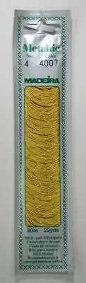 Madeira No. 4, 20m Metallic Hand Embroidery Thread, PURE GOLD Colour 4007