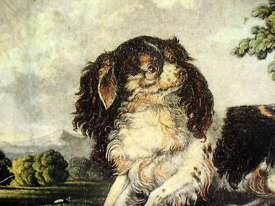 Vintage Oil Painting Print Dog Cavalier Spaniel Rare Ready To Hang On Canvas