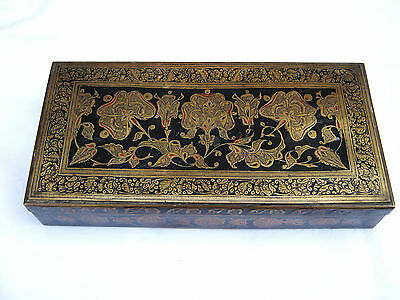 Vintage Anglo Indian Ethnic Brass and Enamel Wooden Lined Box