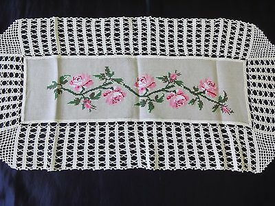 Vintage Hand-Embroidered Linen Table Runner with Roses and Cotton Crochet Lace
