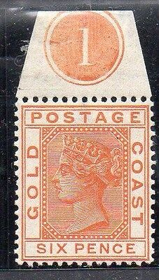 Gold Coast SG17 mint stamp with control number 1