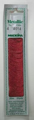 Madeira No. 4, 20m Metallic Hand Embroidery Thread, RUBY RED Colour 4014