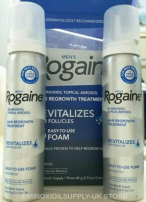 ROGAINE MEN  5% MINOXIDIL Foam for Hair Growth  2 Months Sealed Cans UK STOCK