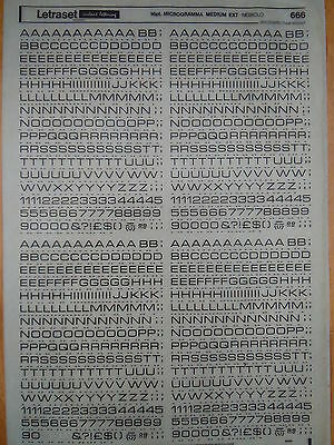 LETRASET SHEET of RUB ON LETTERS Microgamma Medium Extended 16pt (#666) USED