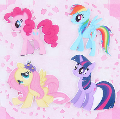 4 x My Little Pony Laser Printed Resin Flat Back Cabochons Decoden Kawaii