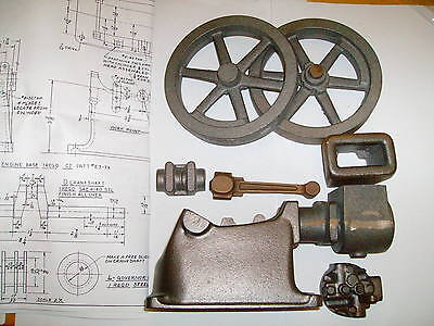 "model Associated ""Hired Man"" hit & miss engine castings & drawings WATER COOLED"