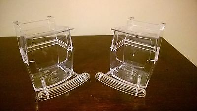 Bird Cup X 2(Budgie Cage Clip On Food Water Container)With Perch