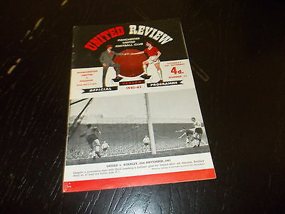 Manchester United v Fulham 9th Dec 1961  Football League Div 1