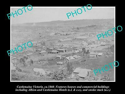 OLD LARGE HISTORICAL PHOTO OF CASTLEMAINE VICTORIA, VIEW OF THE TOWNSHIP c1860