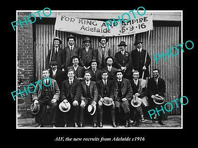 OLD LARGE HISTORIC PHOTO OF ADELAIDE SA, THE NEW AIF ANZAC RECRUITS c1916