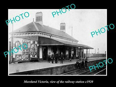 Old Large Historic Photo Of Moreland Victoria, The Railway Station 1920