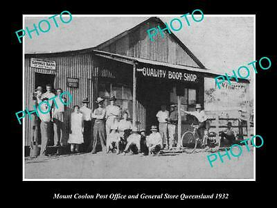 Old Large Historic Photo Of Mount Coolon, Post Office & General Store 1932