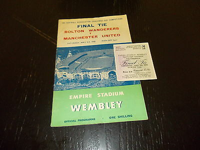 Bolton Wanderers v Manchester United FA Cup Final 3rd May 1958 Prog + Ticket