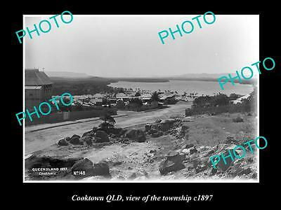 OLD LARGE HISTORIC PHOTO OF COOKTOWN QLD, VIEW OF THE TOWNSHIP c1897 2