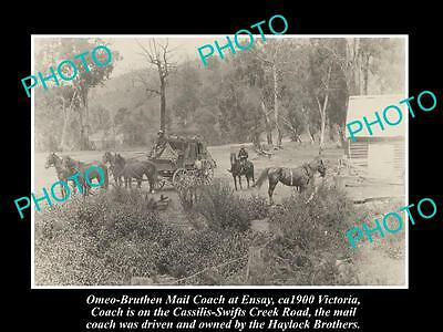 OLD LARGE HISTORIC PHOTO OF OMEO - BRUTHEN MAIL COACH AT ENSAY c1900 VICTORIA