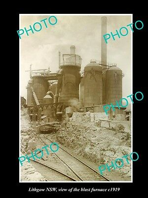OLD LARGE HISTORIC PHOTO OF LITHGOW NSW, VIEW OF THE BLAST FURNACE c1919