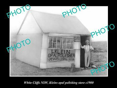 OLD LARGE HISTORIC PHOTO OF WHITE CLIFFS NSW, KLEINS OPAL POLISHER STORE c1900