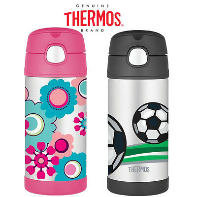 Thermos Funtainer Stainless Steel Straw Kids Water Bottle, 355ml, Multi-Colour