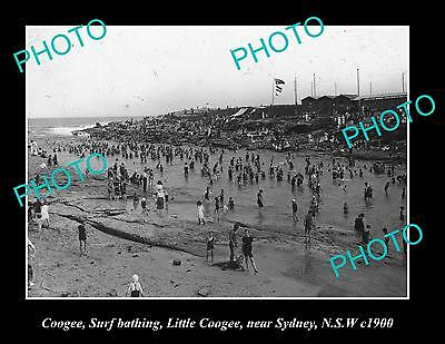 OLD LARGE HISTORIC PHOTO OF COOGEE NSW, LITTLE COOGEE BATHS c1900
