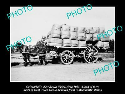 OLD LARGE HISTORIC PHOTO OF COLEAMBALLY NSW, WAGON LOADED WITH WOOL BALES c1933