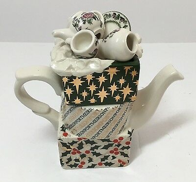 Portmeirion Mini Teapot Christmas Packages- Cardew - Made In England -Rare
