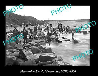 OLD LARGE HISTORIC PHOTO OF MEREWETHER NSW, PEOPLE ON THE BEACH c1900