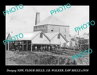OLD LARGE HISTORIC PHOTO OF DUNGOG NSW, VIEW OF FLOUR MILL, SAW MILL c1900
