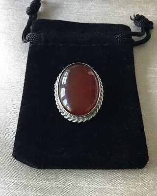Vintage Sterling Silver And Brown Stone Oval Brooch
