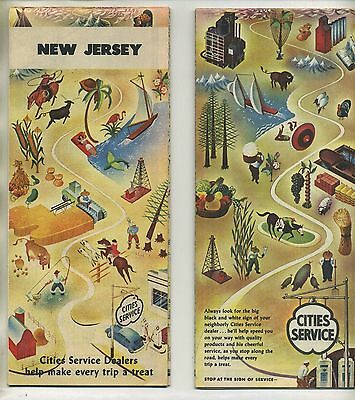 Vintage 1950's CITIES SERVICE Road Map: NEW JERSEY