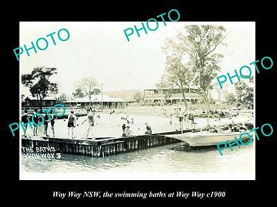 OLD LARGE HISTORIC PHOTO OF WOY WOY NSW, VIEW OF THE SWIMMING BATHS c1900