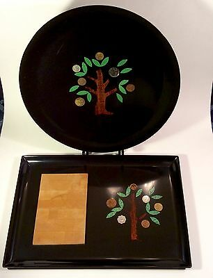 Vintage MCM Couroc Of Monterey~Round Tray & Cutting Board~Trees & Inlaid Coins