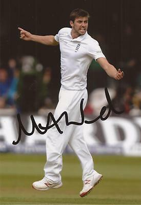 ENGLAND: MARK WOOD SIGNED 6x4 TEST ACTION PHOTO+COA