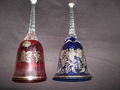 Vintage Bohemia Art Glass Bell's with Clear Twisted Handle's ruby red & colbalt
