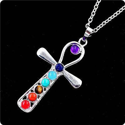 Silver Plated 7 Beads Ankh Symbol Of Life Healing Point Chakra Pendant necklace