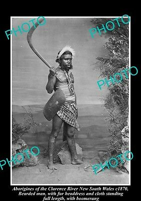 OLD HISTORICAL ABORIGINAL PHOTO OF MAN WITH BOOMERANG, CLARENCE RIVER NSW c1870