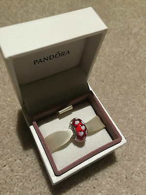 Genuine Pandora Charm - Red Lovehearts