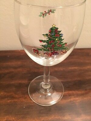NEW Spode Christmas Tree Plain Trimmed  Wine Glass Holiday Water Stemmed (1)