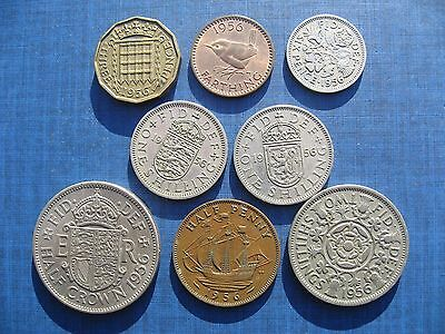 Elizabeth II Year Set 1956, including the rare 1956 Farthing.