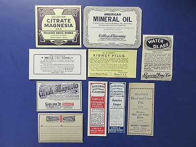 10-Old Pharmacy Drugstore-Apothecary-Medicine Bottle Old Label Lot-Vintage=